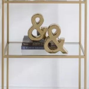 2 Piece GOLD Ampersand Bookends! NWOT